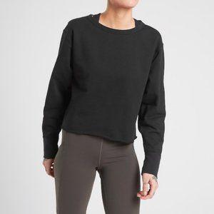 Athleta Raw Edge Black Sweatshirt size XS